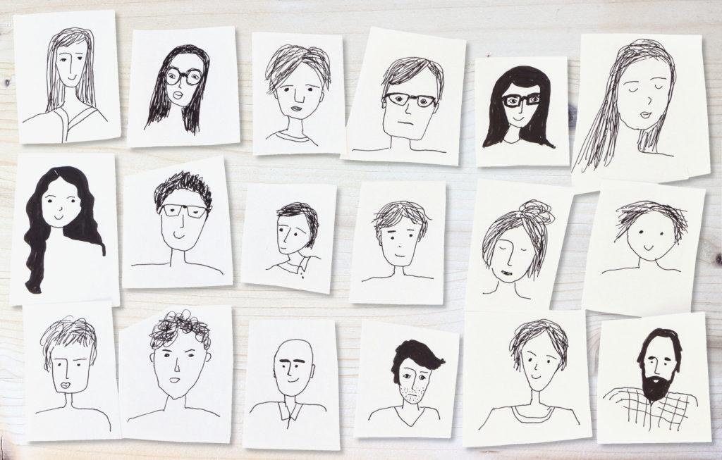 série de portraits en noir et blanc de personnes différrentes