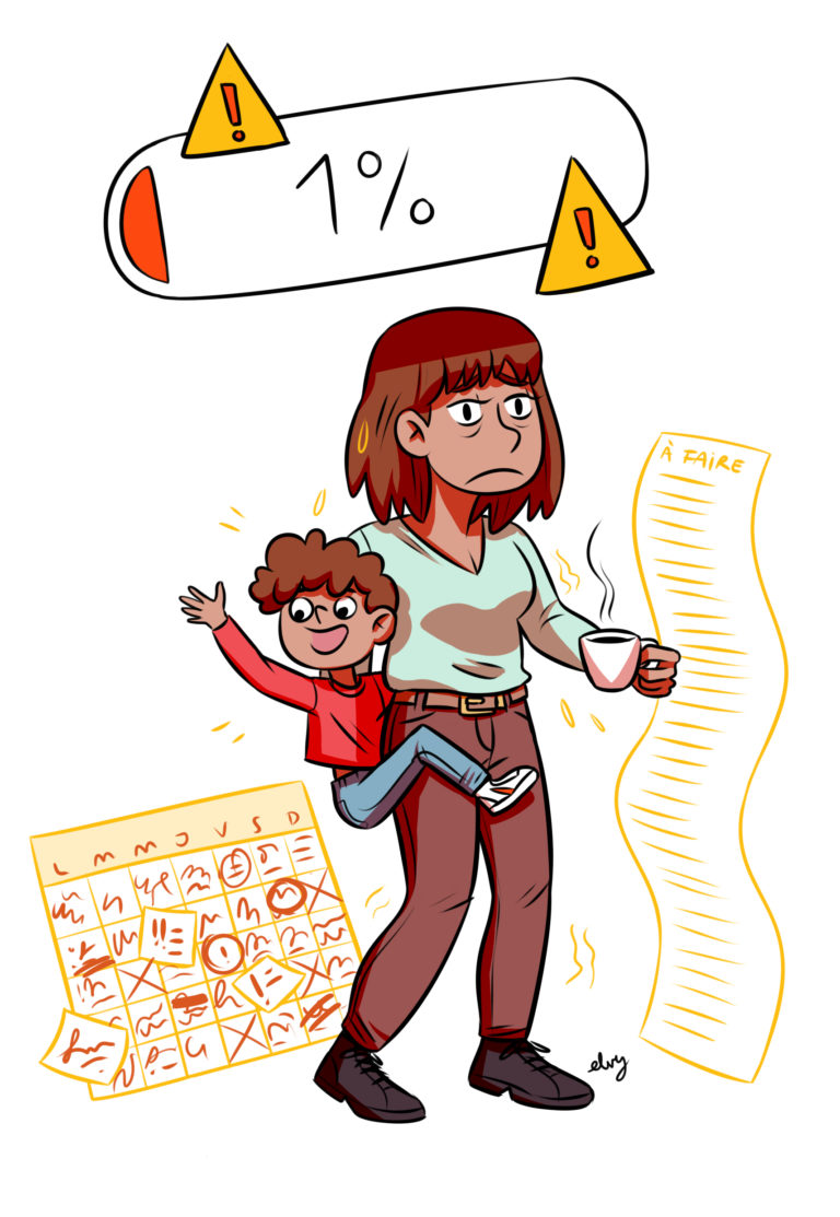 Illustration d'une maman en burn out